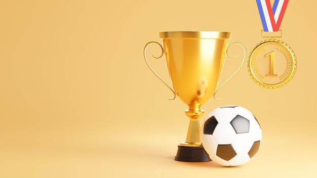Rendering 3d di trofeo con medaglia d'oro per il concetto di vincitore