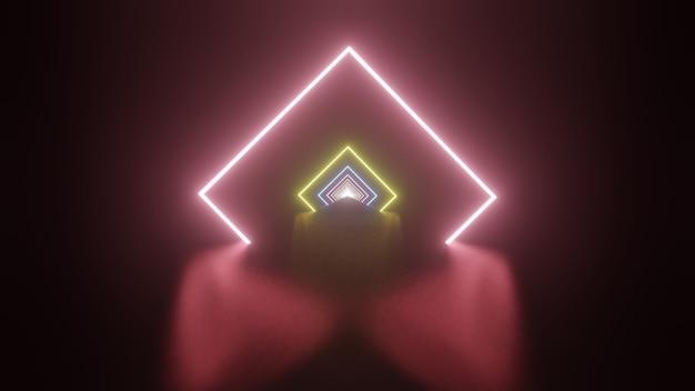 Rendering 3d di un tunnel, spettro viola rosa rosso blu, luce ultravioletta fluorescente, illuminazione colorata moderna.