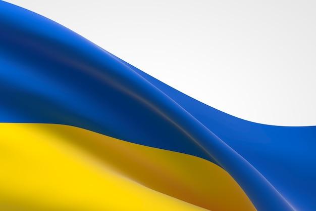 Rendering 3d dell'ondeggiamento della bandiera ucraina.