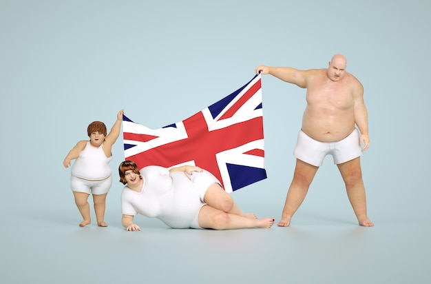 3d rendono il concetto di obesità del regno unito - famiglia grassa con bandiera