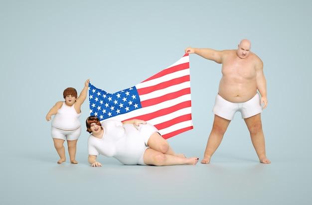 Rendering 3d concetto di obesità degli stati uniti - famiglia grassa con bandiera