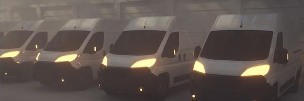 3d rendono i camion di trasporto di consegna furgone parcheggiati con le luci accese