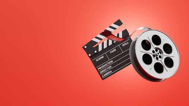 Rendering 3d del cinema vintage su sfondo rosso
