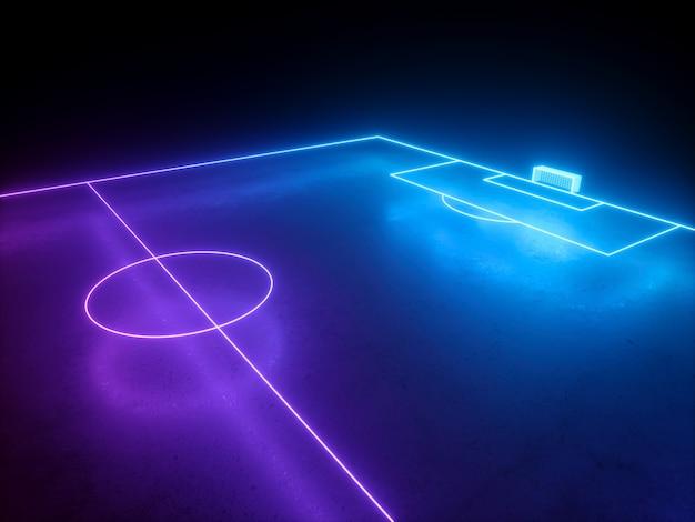 Rendering 3d della vista dell'angolo prospettico del cancello del campo da calcio del campo da calcio al neon virtuale