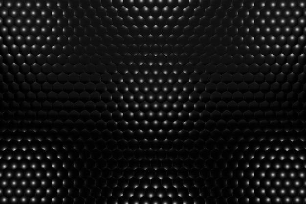 Rendering 3d sfondo volumetrico da esagoni neri. sfondo nero astratto.