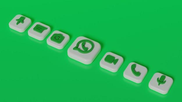 3d rendering pulsante logo whatsapp con icone chat