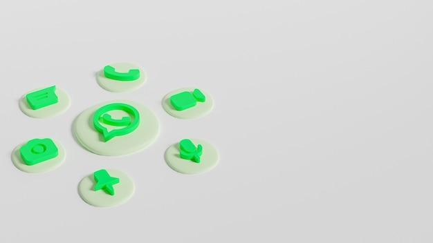 3d render pulsante logo whatsapp con icone chat