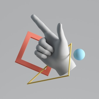 Rendering 3d della mano artificiale bianca con oggetti geometrici che levitano.