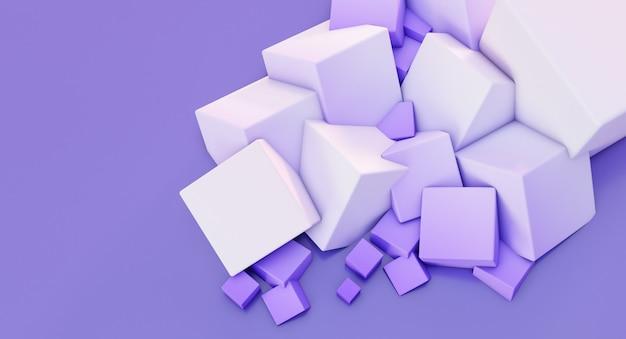 Rendering 3d del fondo bianco della parete dei cubi caotici.