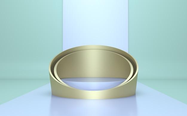 Render 3d podio bianco e oro per la visualizzazione del prodotto