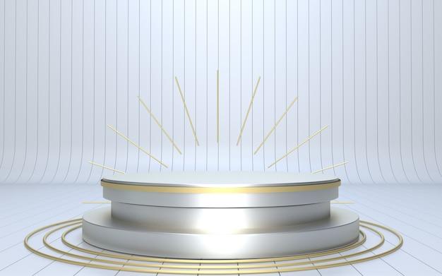 3d render palco podio bianco e oro per la visualizzazione del prodotto