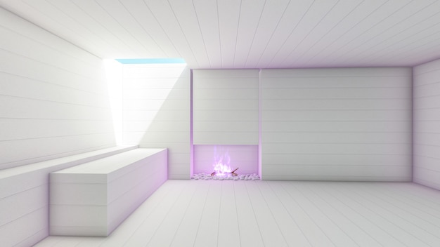 3d rendono il corridoio vuoto moderno bianco con il camino delle fiamme viola