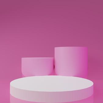 3d rendono il podio bianco su sfondo rosa