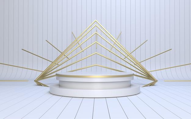 Render 3d podio bianco per esposizione di prodotti con stile vintage art déco