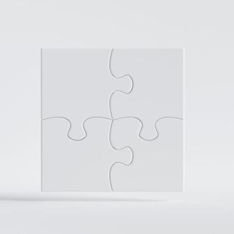 Rendering 3d di pezzi di gioco puzzle bianchi collegati tra loro