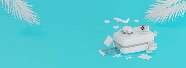 3d render valigia bianca e accessori da viaggio isolati su sfondo blu