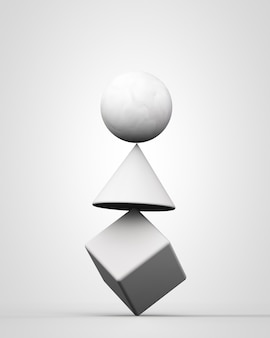 3d rendono la struttura di bilanciamento instabile bianca con forme geometriche su sfondo bianco