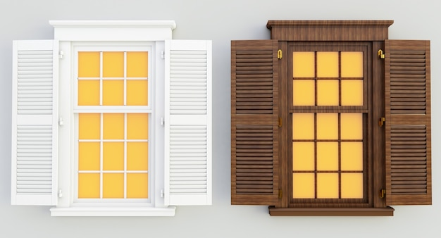 Rendering 3d di finestre aperte bianche e in legno isolate su sfondo bianco.