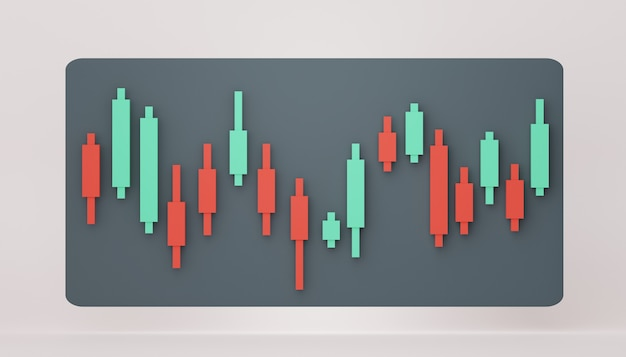 Finestra di rendering 3d del grafico di compravendita di azioni scena del design di marketing seo