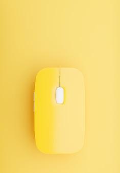 Rendering 3d del mouse per computer wireless su sfondo giallo per il tuo design mockup