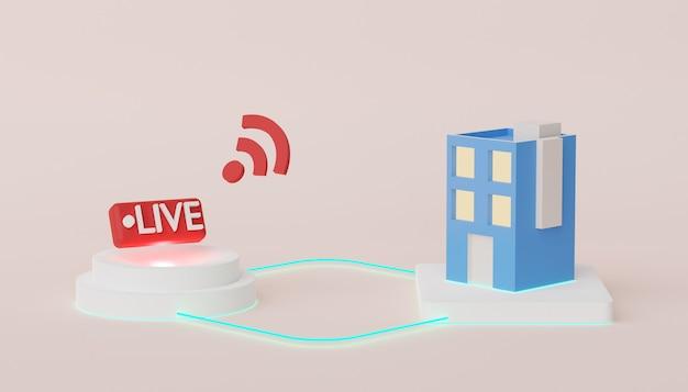 Rendering 3d della connessione di rete wireless alla rete online del dispositivo con internet ad alta velocità