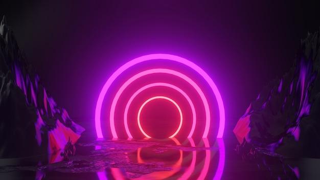 Rendering 3d con cerchio di luci al neon sul nero