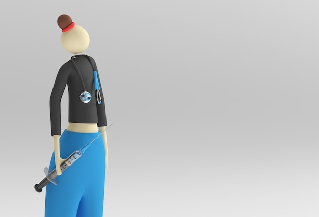 3d render woman doctor wear glasses stetoscopio con la siringa per il vaccino.