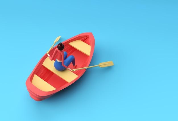 Rendering 3d di una donna divertente sull'illustrazione 3d della barca.