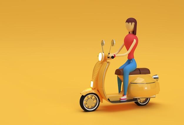 3d render donna che guida il motorino vista laterale su uno sfondo giallo.