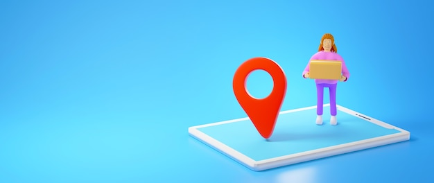 Rendering 3d di una donna che tiene in mano una scatola che osserva su uno smartphone con un'icona di posizione su sfondo blu