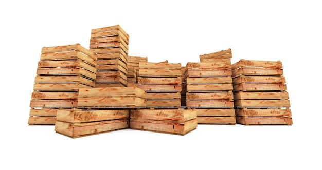 Rendering 3d della pila di casse di legno isolato su priorità bassa bianca. casse di legno vuote