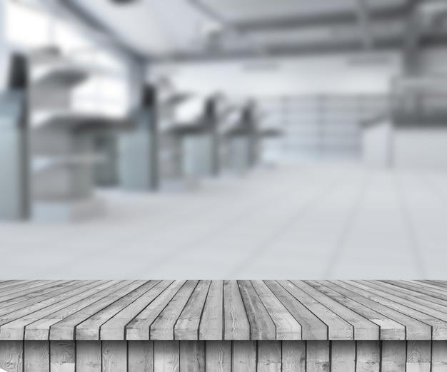 Rendering 3d di un tavolo in legno che guarda a un supermercato vuoto