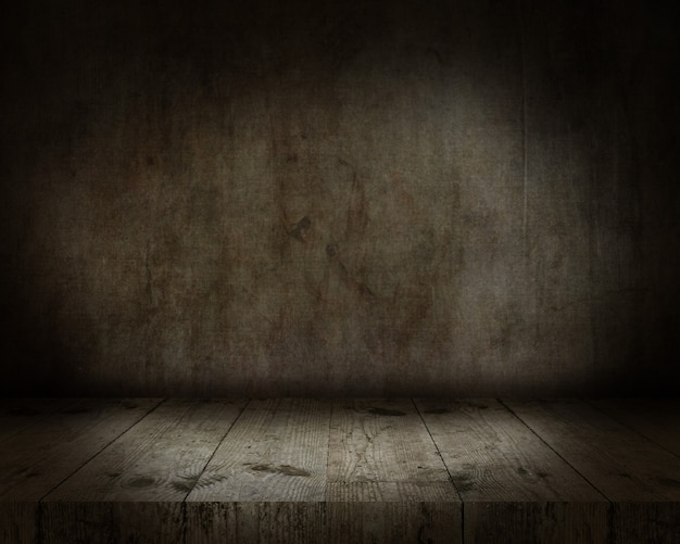 Rendering 3d di un tavolo in legno che guarda a un interno grunge