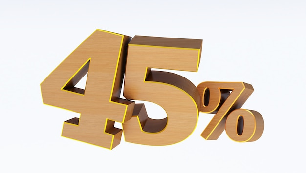 3d render di testo in legno 45 percento di sconto isolato su sfondo bianco, offerta speciale 45% di sconto tag,