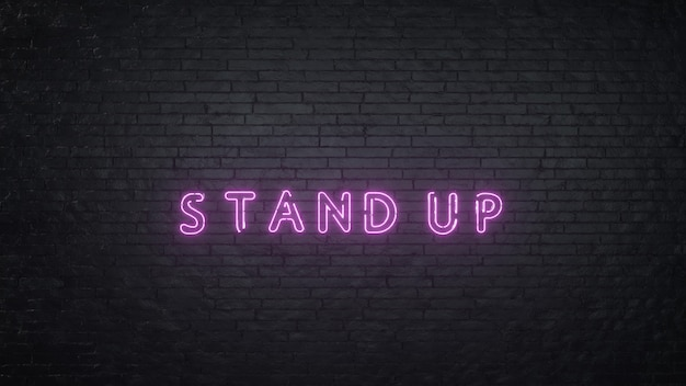 3d render word stand up on pink neon e black brick background