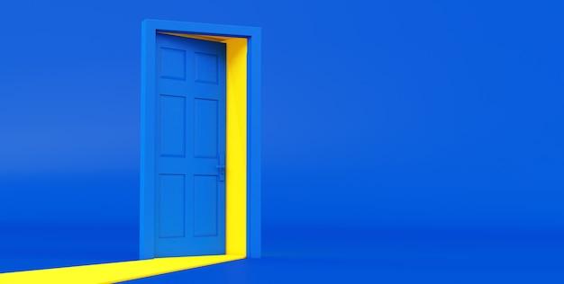 Rendering 3d di luce gialla che passa attraverso la porta aperta isolata su sfondo blu.