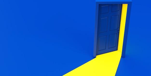 Rendering 3d di luce gialla che passa attraverso la porta aperta isolata su sfondo blu. Foto Premium