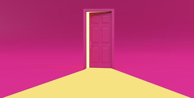 Rendering 3d di luce gialla che passa attraverso la porta aperta isolata su sfondo rosa.