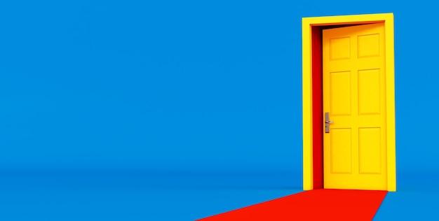 Rendering 3d dell'idea gialla della porta aperta. porta aperta gialla su sfondo blu con tappeto rosso.