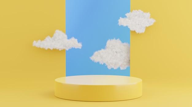 Rendering 3d del podio giallo con nuvola per la visualizzazione del prodotto