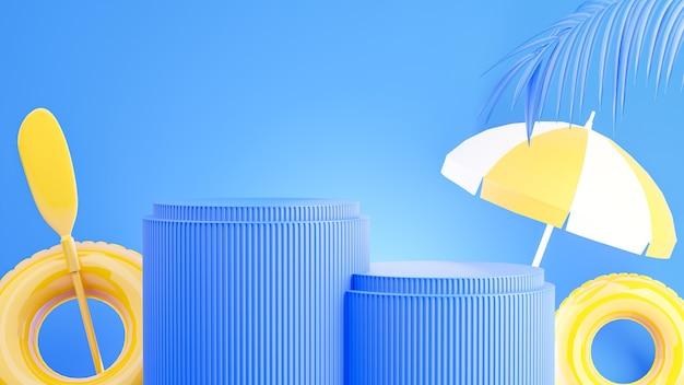 Rendering 3d del podio giallo con il concetto di estate per la visualizzazione del prodotto