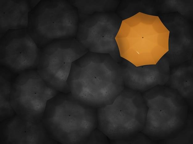 3d rendono l'ombrello giallo tra lo sfondo di ombrelli neri