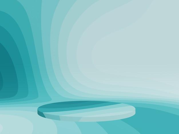 Podio di contorno grafico blu verdastro astratto rendering 3d
