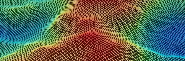 Topografia di griglia astratta resa 3d. terreno a maglia gradiente.