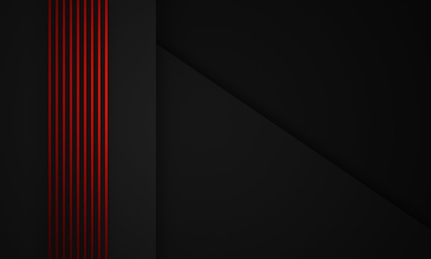 3d rendering astratto rosso spogliato e sfondo nero.