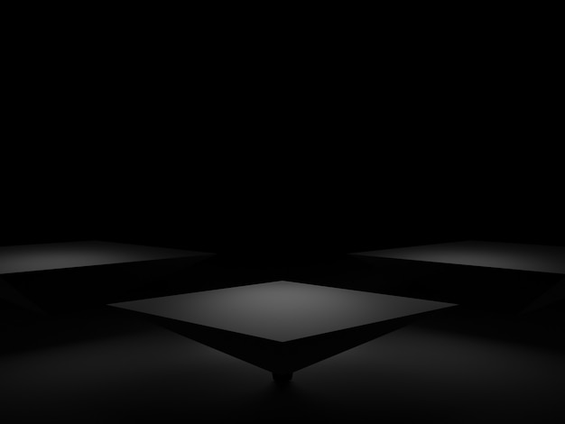 Podio geometrico nero rendering 3d. sfondo scuro.
