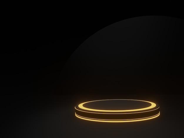 Podio geometrico nero reso 3d con luce al neon dorata