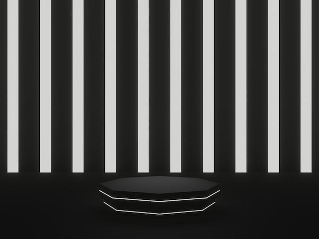 Podio geometrico nero reso 3d con luce al neon bianca
