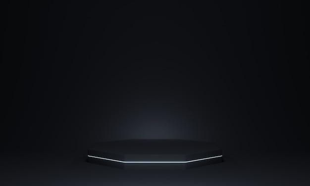 Podio geometrico nero rendering 3d