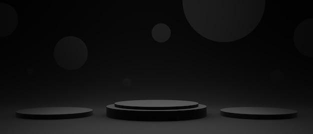 3d ha reso il podio del prodotto geometrico nero. sfondo scuro.